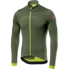 Castelli Fondo Maillot à manches longues avec zip Homme, military green/yellow fluo